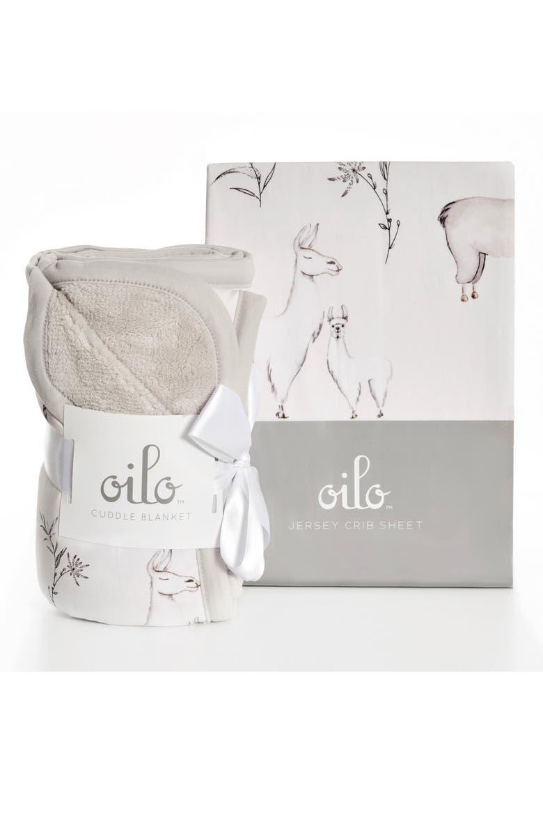 OILO Llama Crib Sheet & Cuddle Blanket Set, Main, color, LLAMA