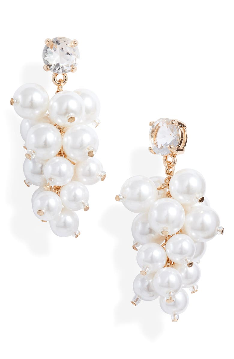 RACHEL PARCELL Imitation Pearl Chandelier Earrings, Main, color, CLEAR- WHITE- GOLD