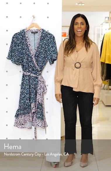 Contrast Ruffle Trim Wrap Dress, sales video thumbnail