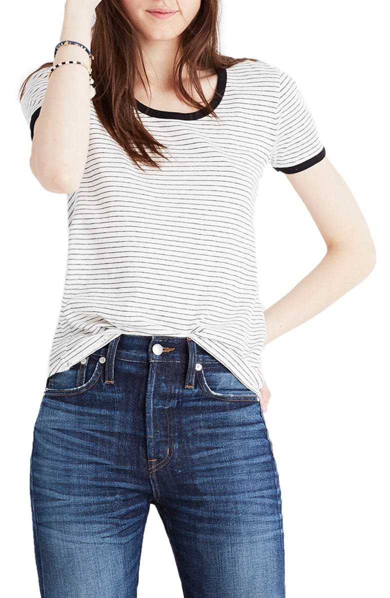 MADEWELL Stripe Recycled Cotton Ringer Tee, Main, color, 009