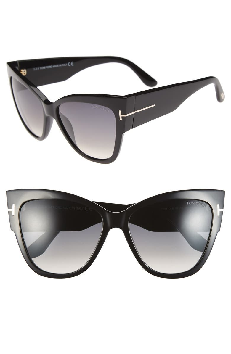 TOM FORD Anoushka 57mm Gradient Cat Eye Sunglasses, Main, color, SHINY BLACK/ GRADIENT GREY