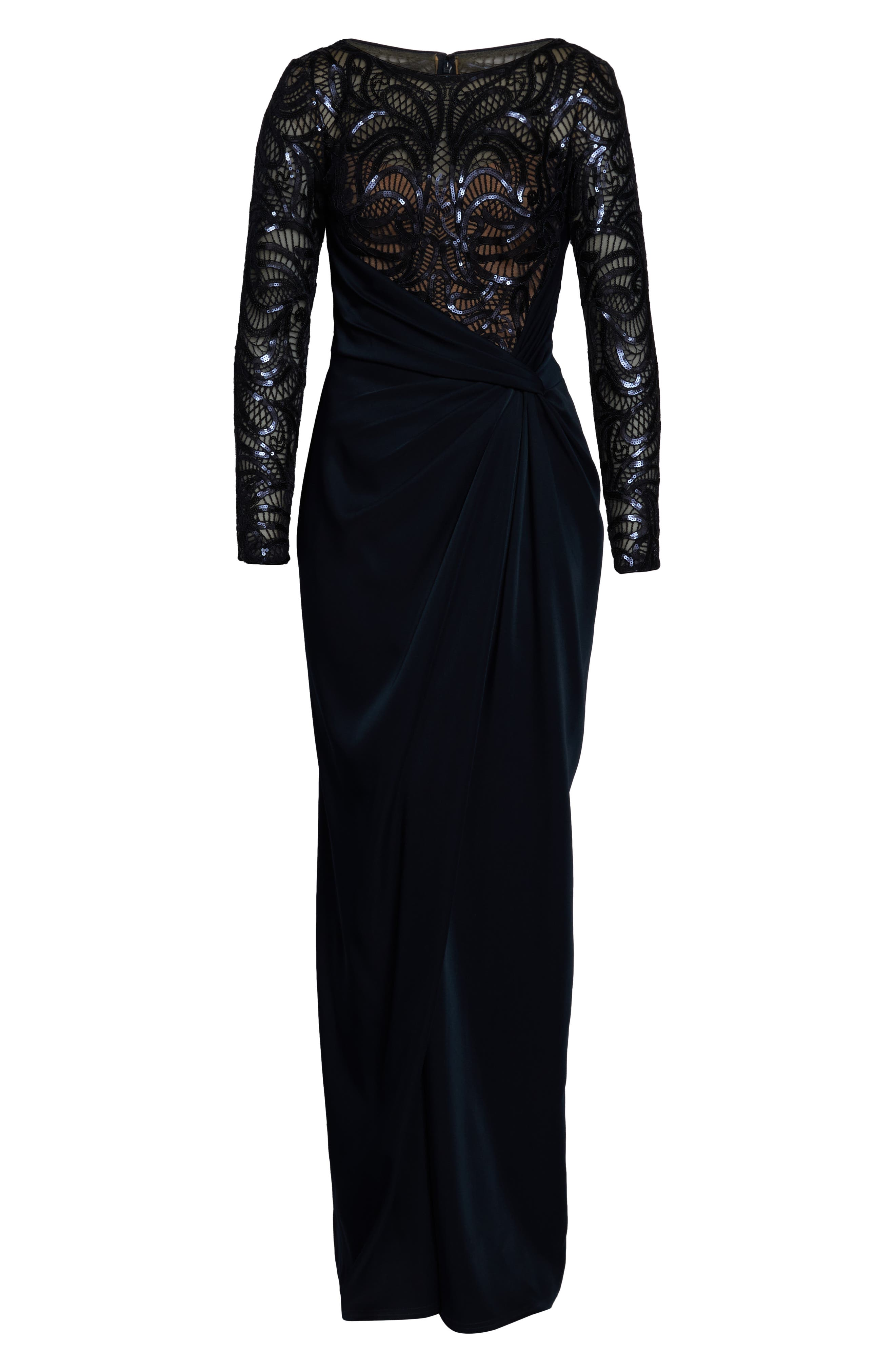 ,                             Sequin Lace & Jersey Evening Dress,                             Alternate thumbnail 7, color,                             NAVY/ NUDE
