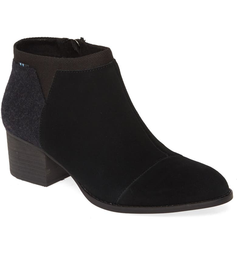 TOMS Loren Bootie, Main, color, BLACK SUEDE