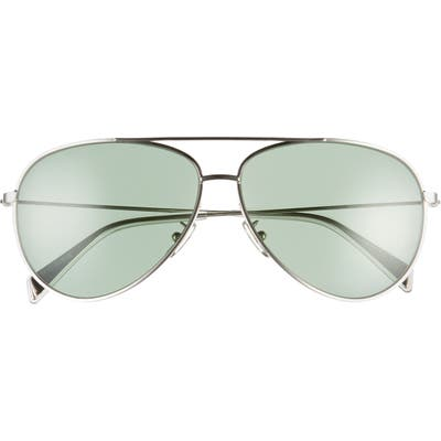 Celine 61mm Aviator Sunglasses - Palladium/ Green