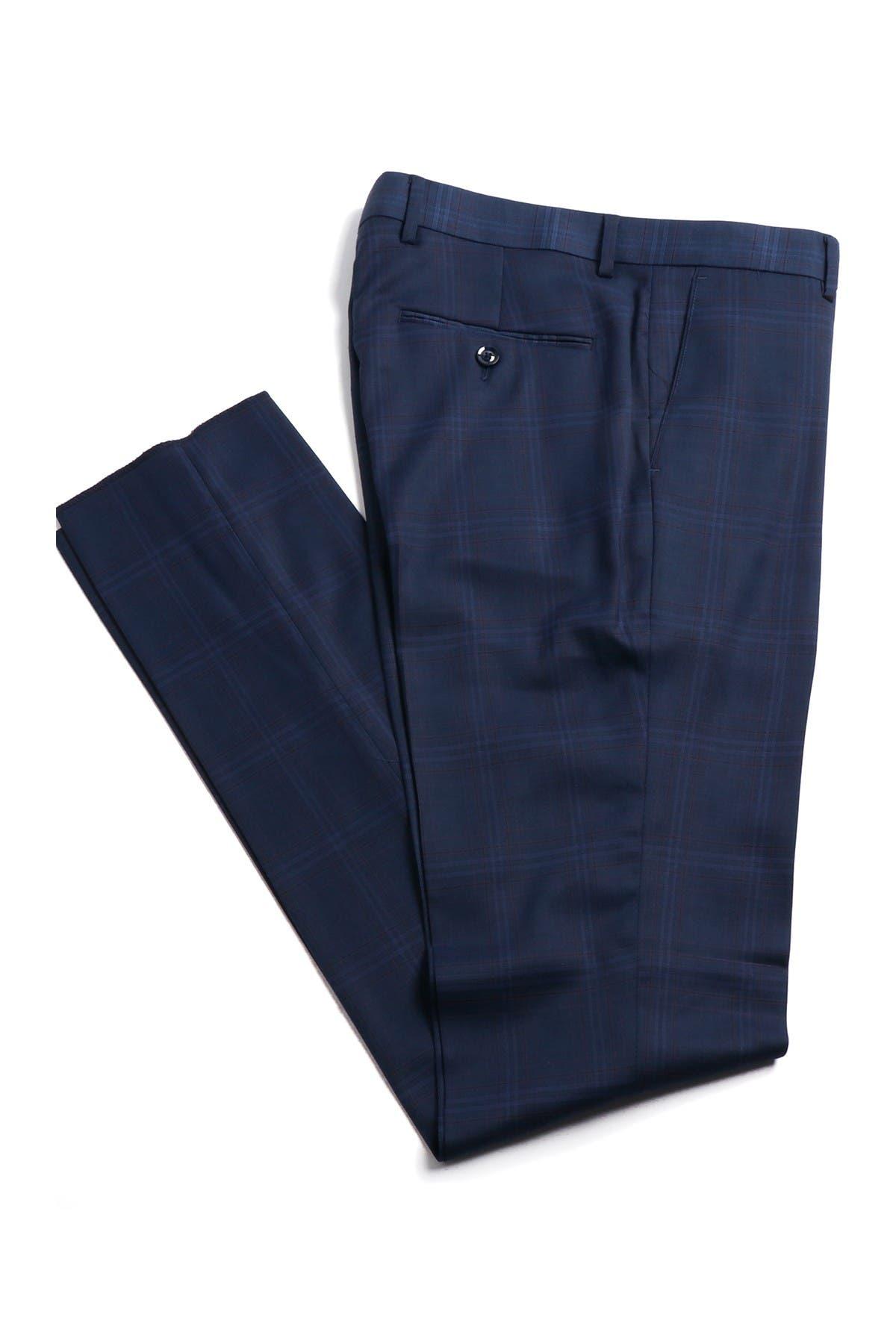 Image of SOUL OF LONDON Navy Blue Plaid Two Button Notch Lapel Suit