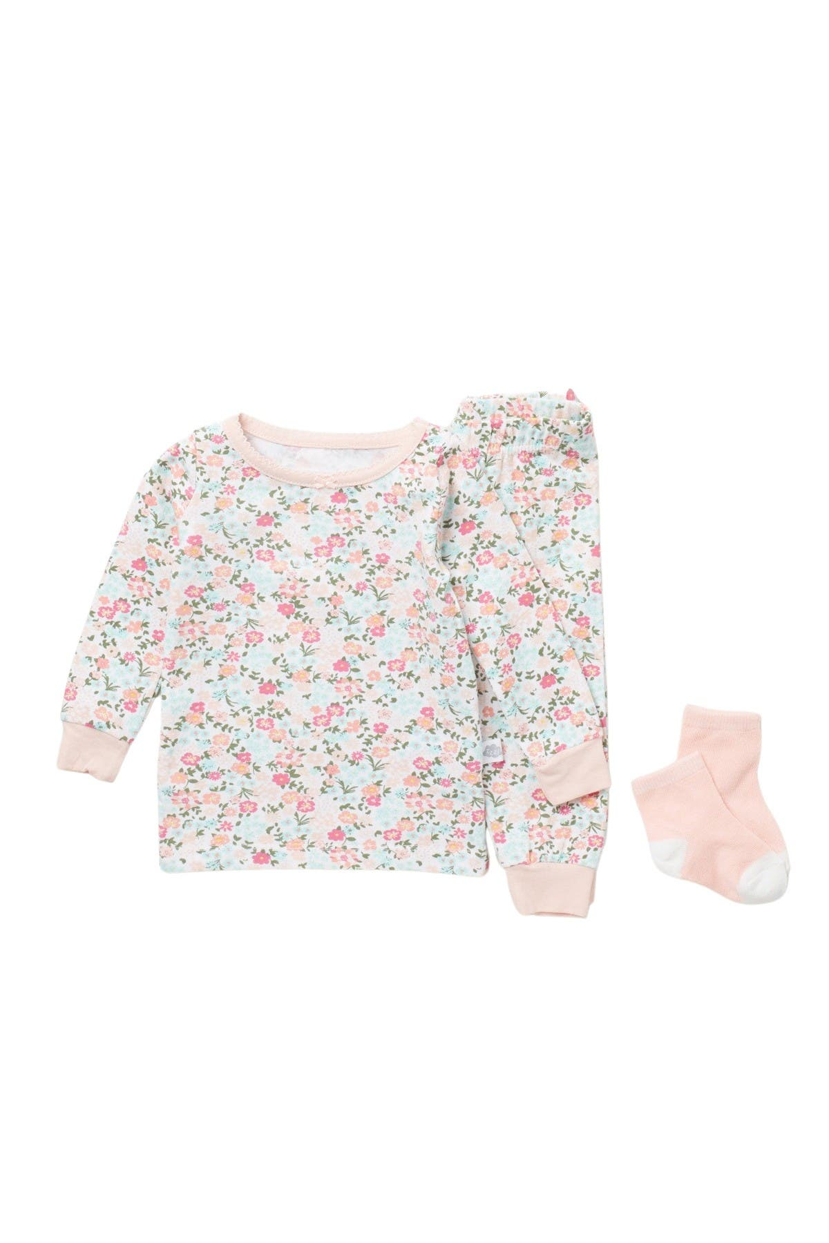 Image of CLOUD NINE Patterned Pajama Top, Pants & Socks