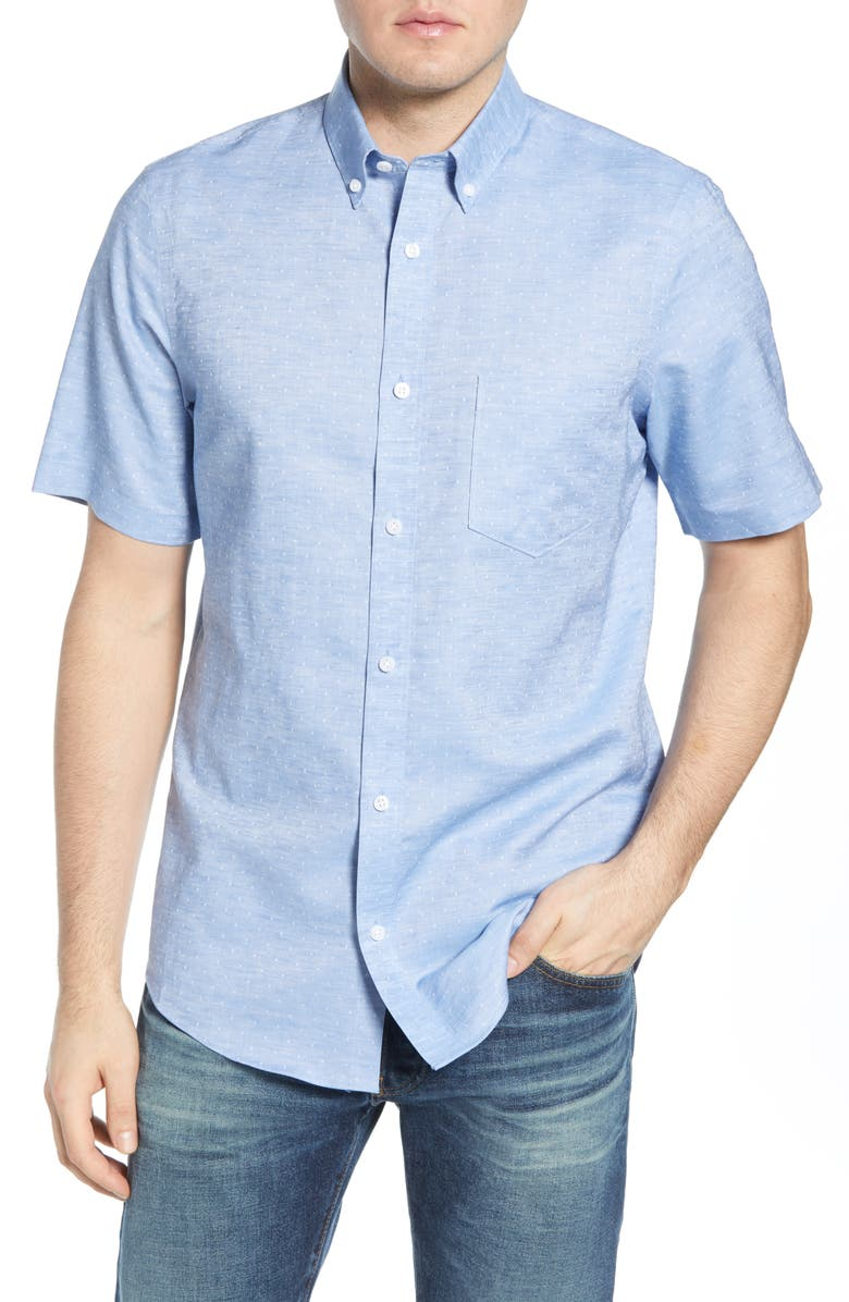 NORDSTROM MEN'S SHOP Nordstrom Mens Shop Regular Fit Non-Iron Dobby Short Sleeve Linen & Cotton Button-Down Shirt, Main, color, BLUE SLUB DIAMOND DOBBY