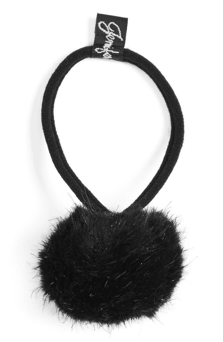 JENNIFER OUELLETTE Faux Fur Pompom Ponytail Holder, Main, color, 001