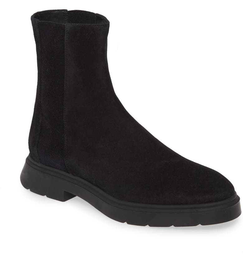 STUART WEITZMAN Romy Genuine Shearling Lined Bootie, Main, color, BLACK/BLACK SUEDE/ SHEARLING