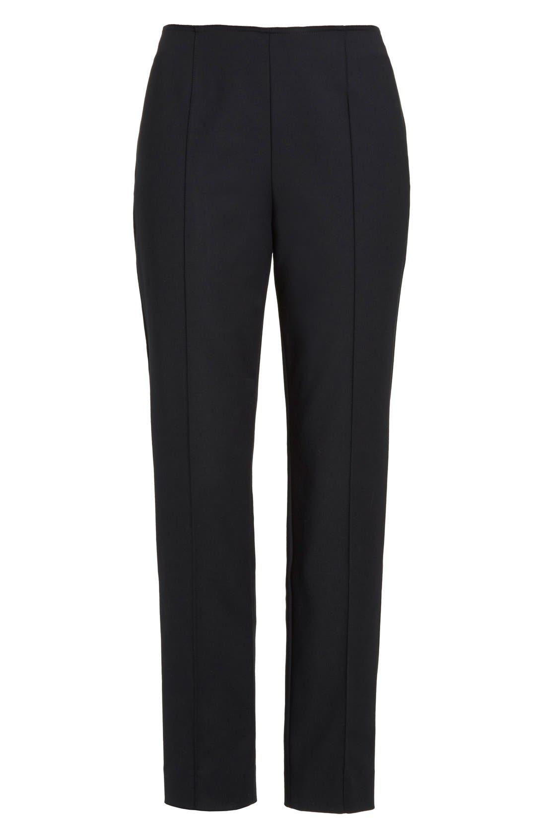 ,                             John Collection 'Alexa' Stretch Micro Ottoman Ankle Pants,                             Alternate thumbnail 5, color,                             CAVIAR
