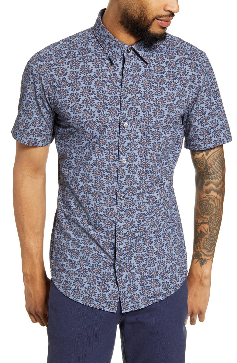 BOSS Robb Slim Fit Floral Stretch Short Sleeve Button-Up Shirt, Main, color, BLUE