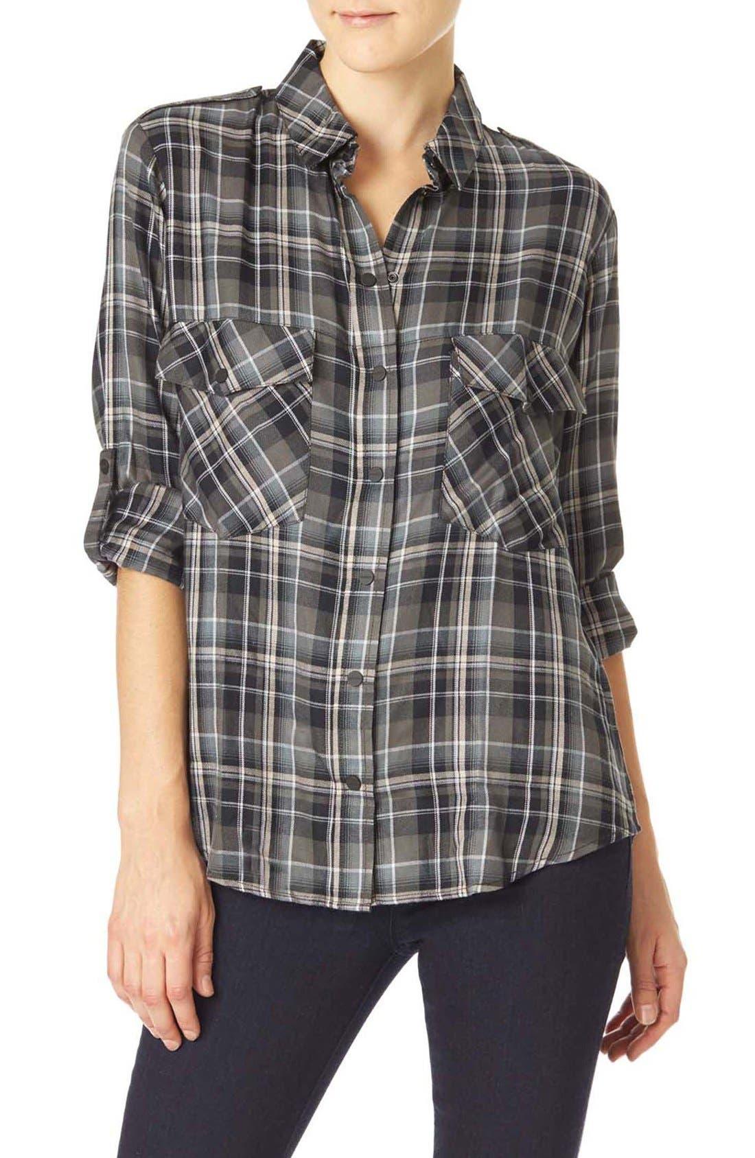 ,                             Plaid Flannel Boyfriend Shirt,                             Main thumbnail 1, color,                             093