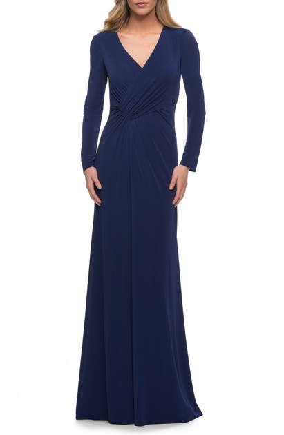 La Femme Gowns RUCHED LONG SLEEVE JERSEY SHEATH GOWN