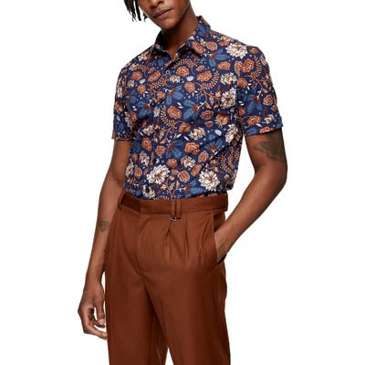 Topman Floral Short Sleeve Button-Up Shirt, Blue