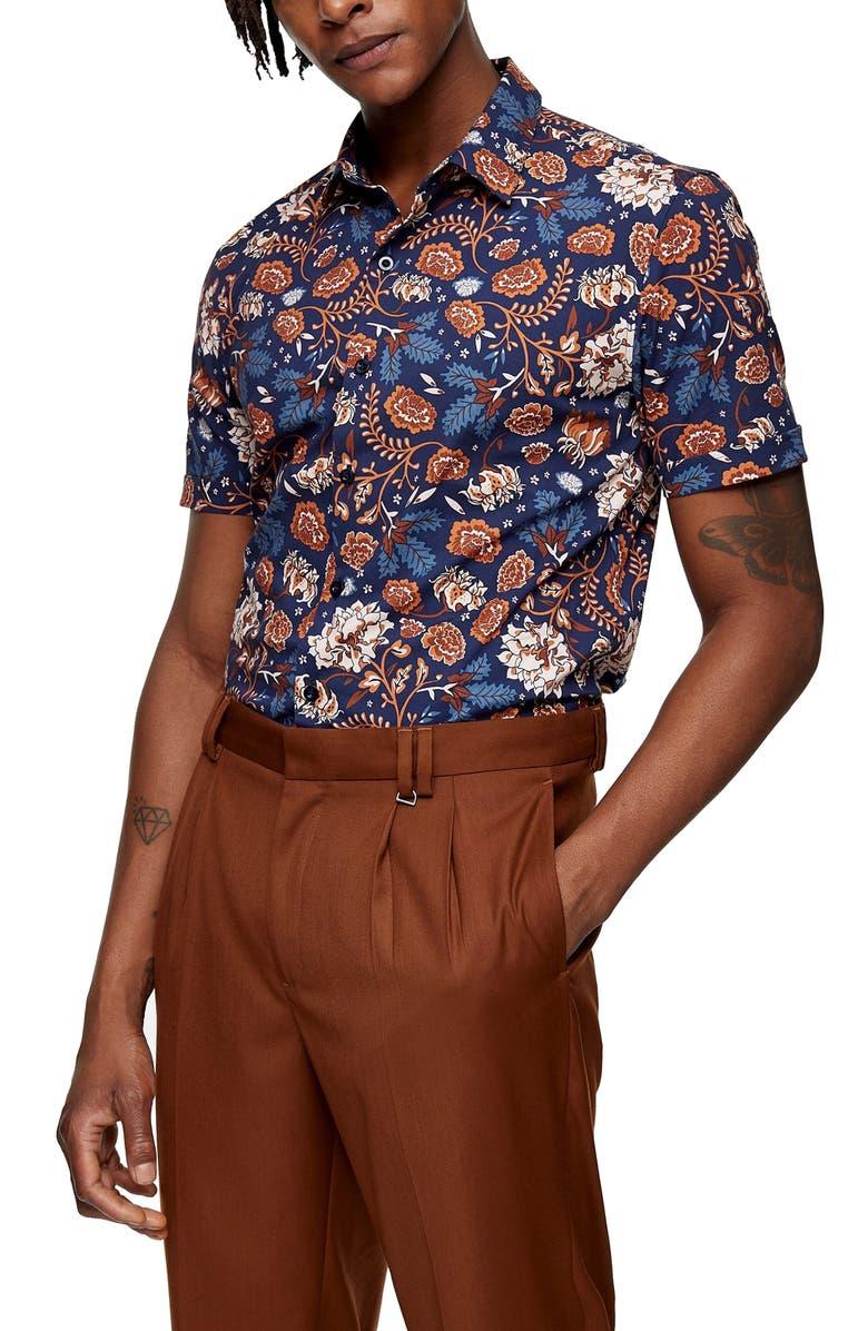 TOPMAN Floral Short Sleeve Button-Up Shirt, Main, color, NAVY MULTI