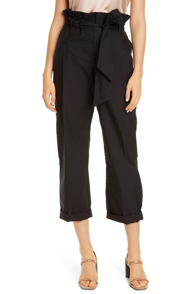 BRUNELLO CUCINELLI Paperbag Waist Crinkled Cotton Blend Ankle Pants, Main, color, BLACK