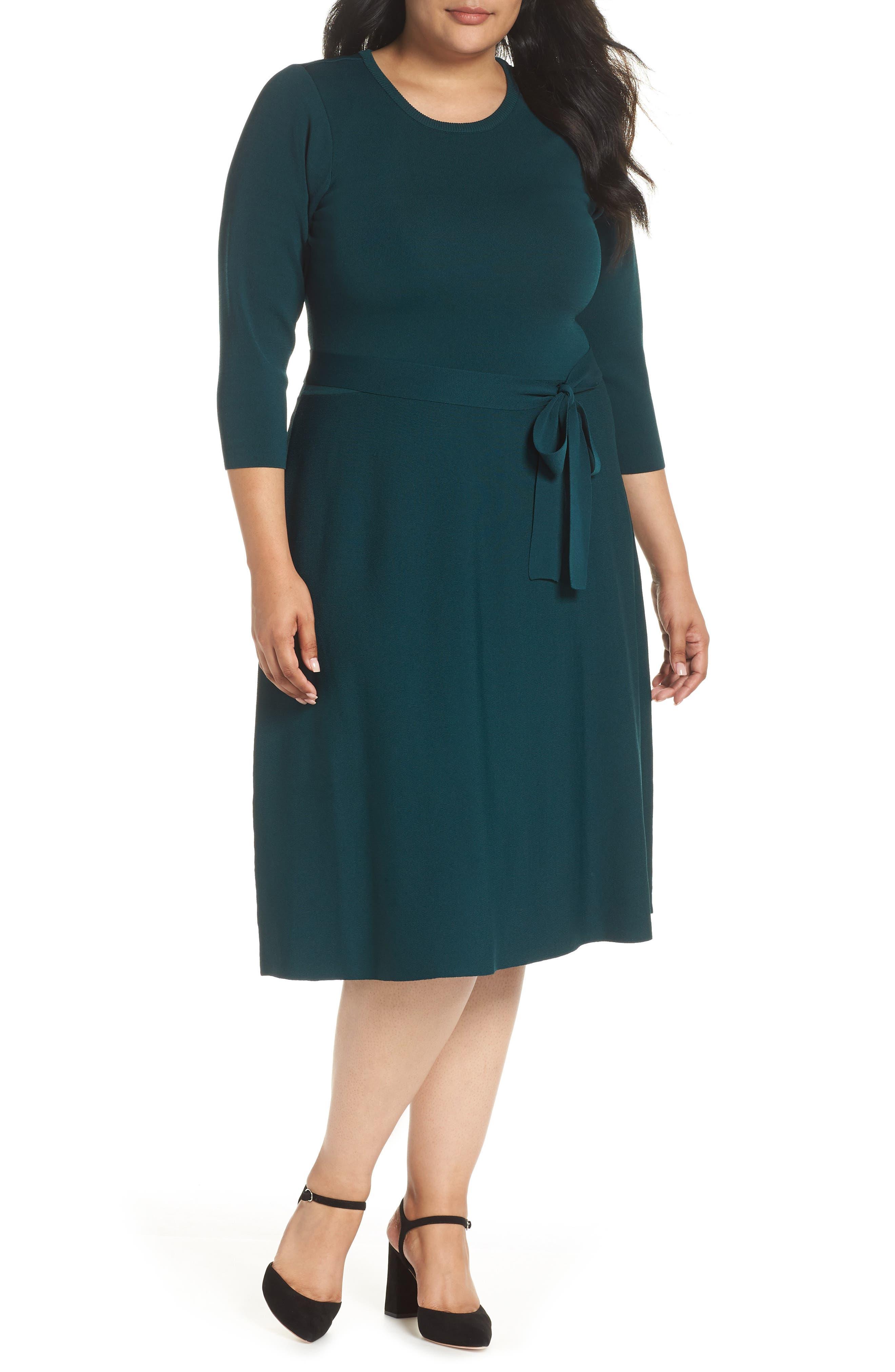 Plus Size Eliza J Fit & Flare Sweater Dress, Green