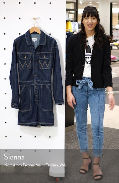 Long Sleeve Denim Romper, sales video thumbnail