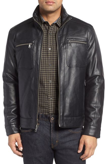 Image of Cole Haan Faux Leather Zip Jacket