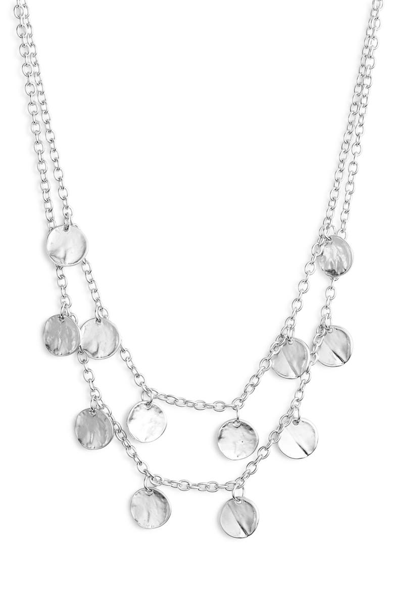 KARINE SULTAN Layered Charm Necklace, Main, color, SILVER