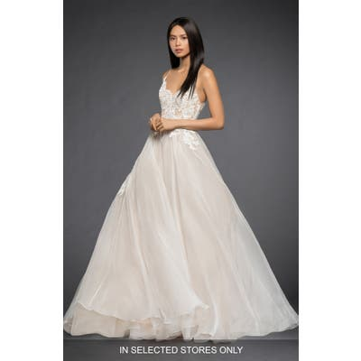 Lazaro Vanessa Lace Bodice Organza Ballgown, Size IN STORE ONLY - Ivory