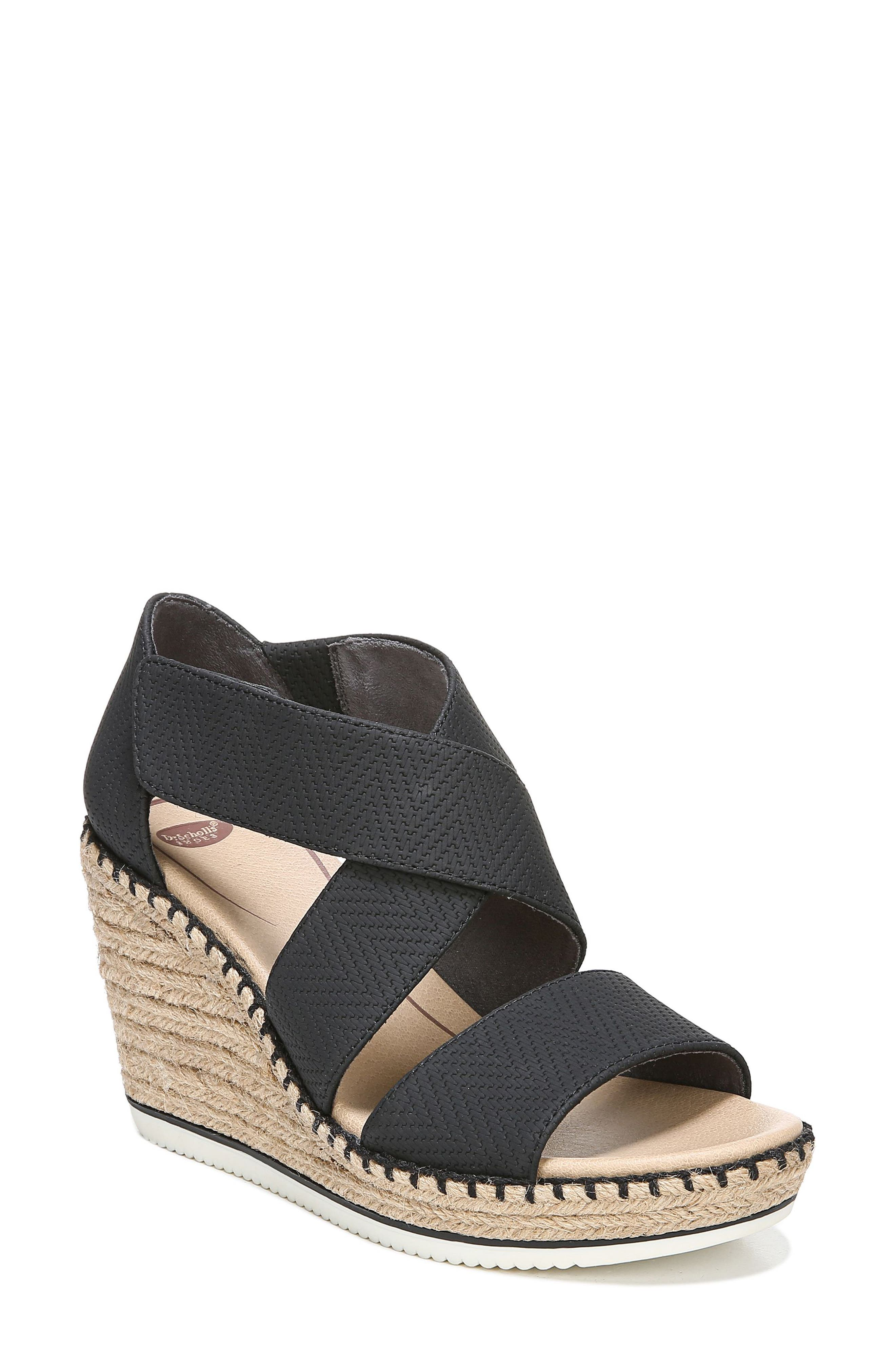Vacay Wedge Sandal, Main, color, BLACK FAUX LEATHER