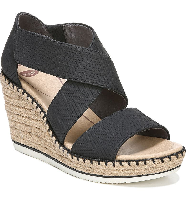 DR. SCHOLL'S Vacay Wedge Sandal, Main, color, BLACK FAUX LEATHER