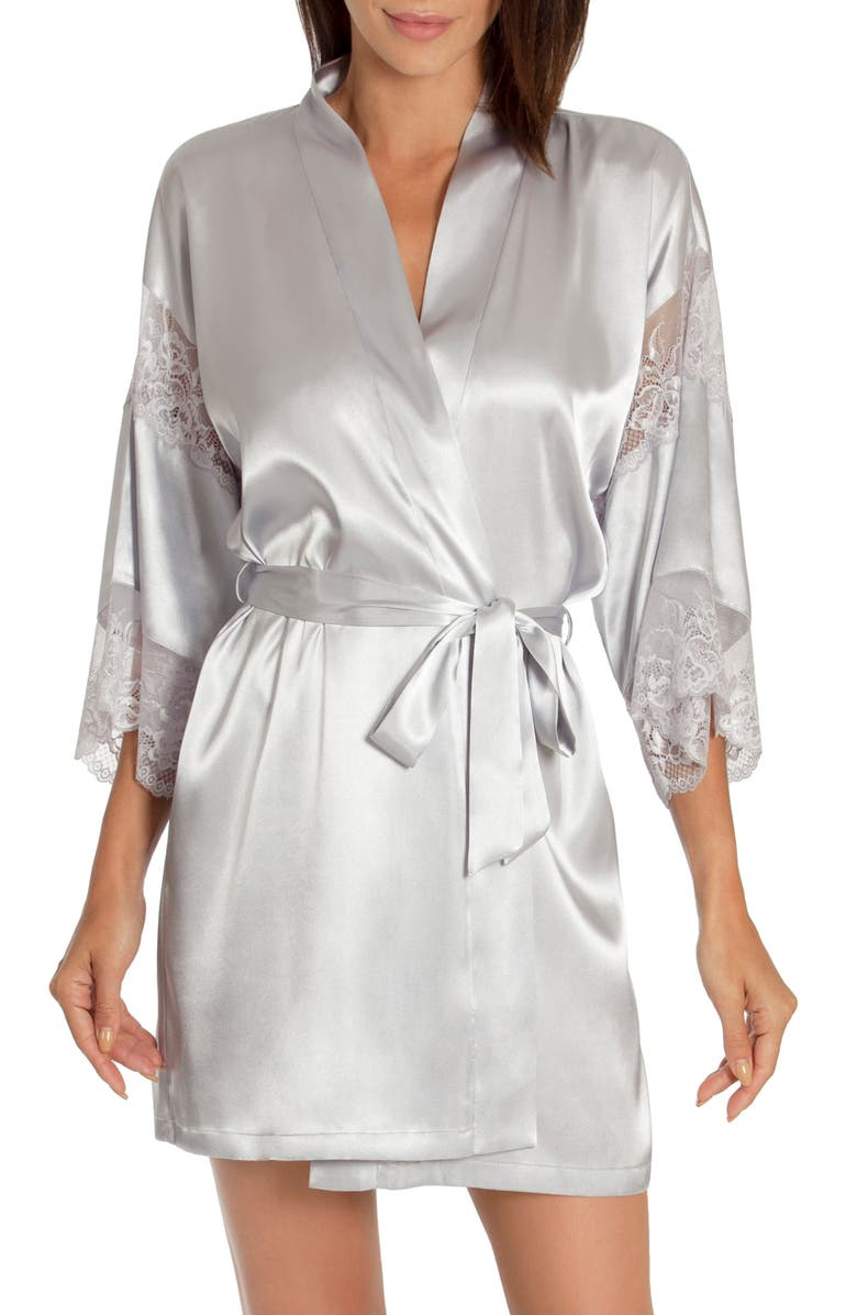 IN BLOOM BY JONQUIL Sea of Love Satin & Lace Wrap, Main, color, SILVER