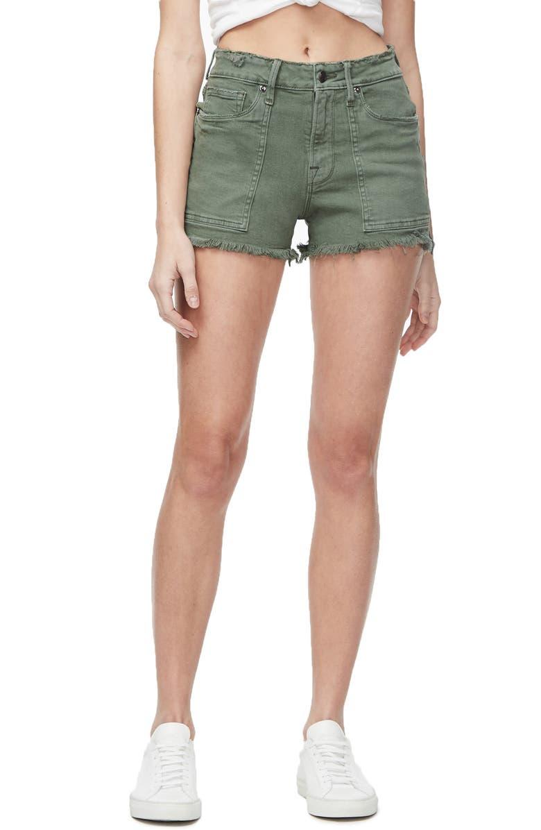 GOOD AMERICAN High Waist Cutoff Shorts, Main, color, OLIVE007