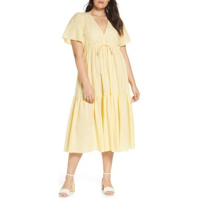 Madewell V-Neck Tiered Cover-Up Dress, Yellow