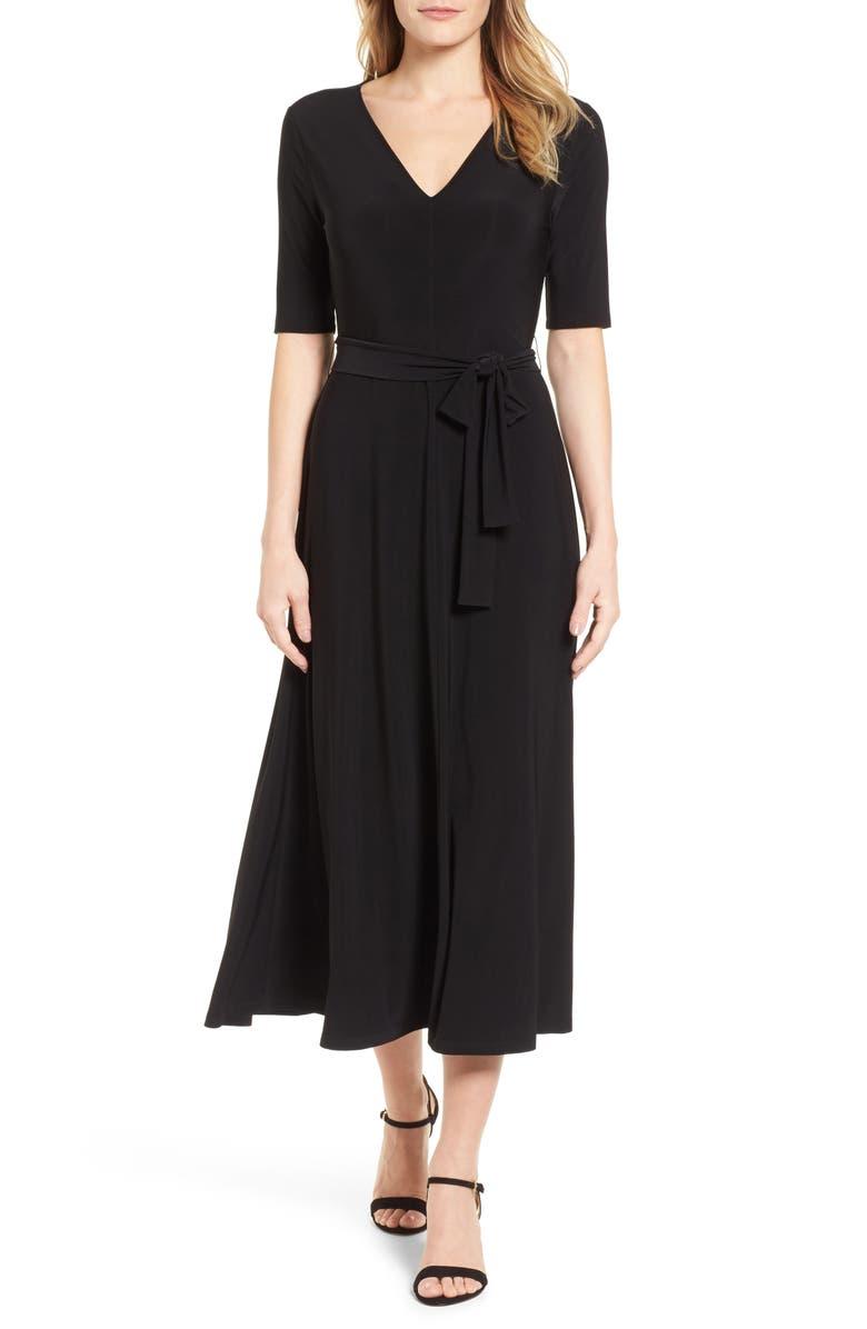 CHAUS Lisa Tie Waist Dress, Main, color, 060-RICH BLACK