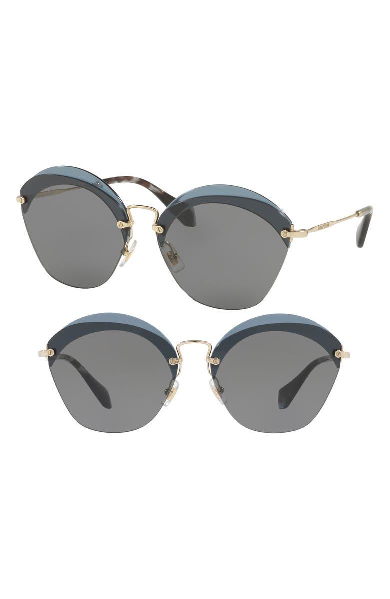 MIU MIU 62mm Sunglasses, Main, color, TRANSPARENT BLUE SOLID