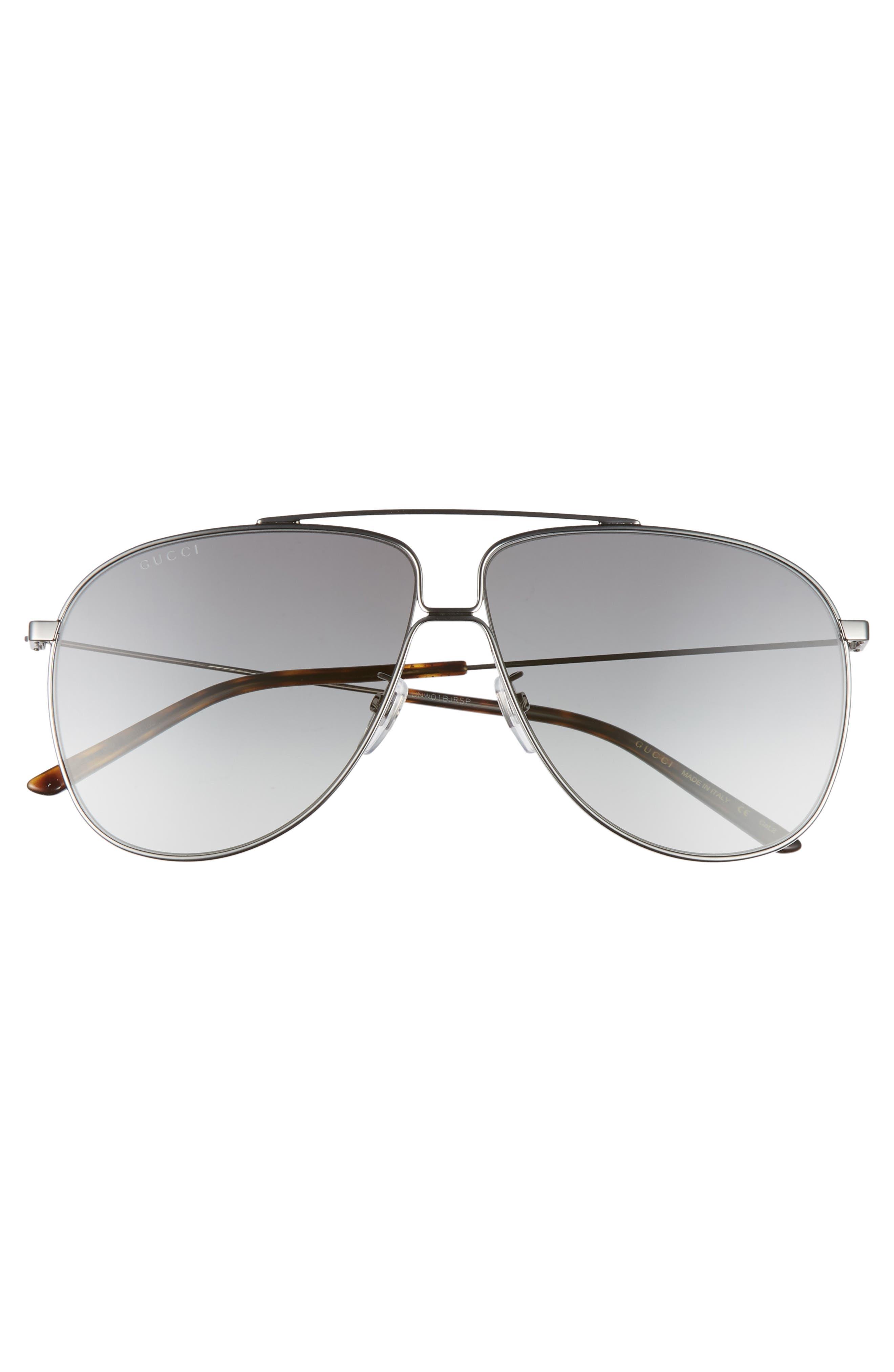 ,                             63mm Oversize Aviator Sunglasses,                             Alternate thumbnail 3, color,                             SHNY DK RUTH/ GREY GRAD