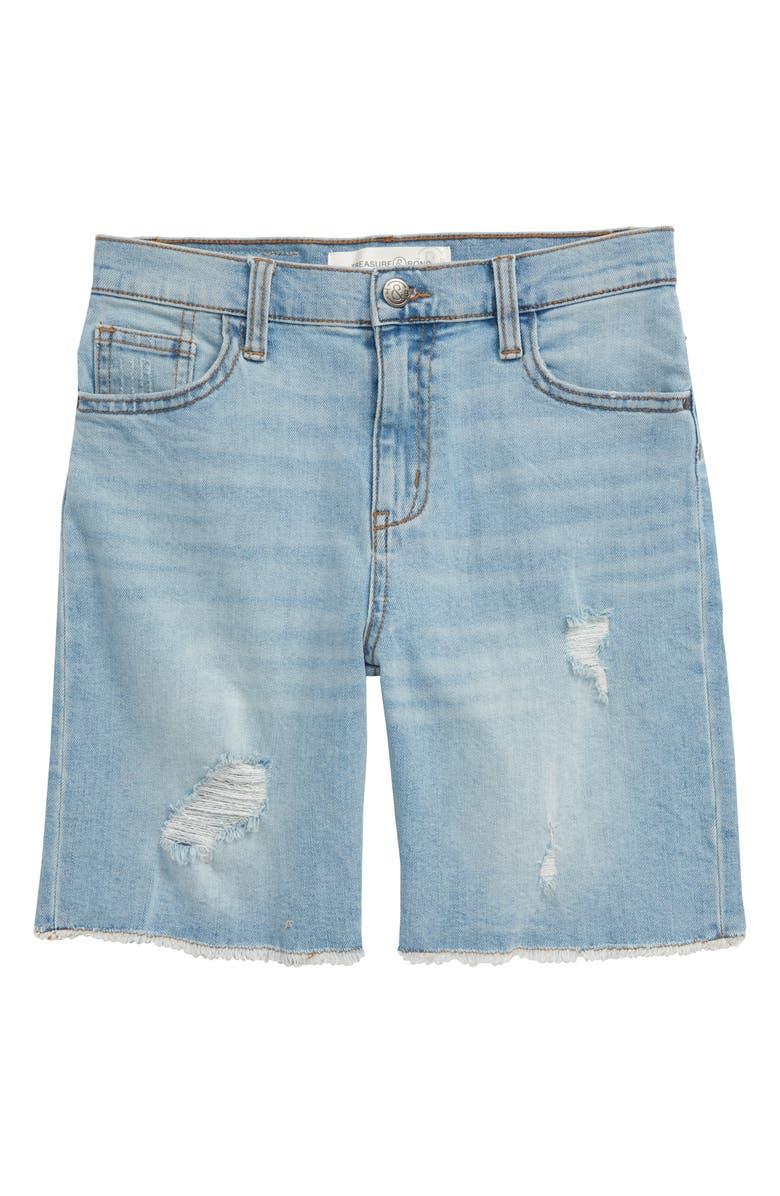 TREASURE & BOND Distressed Bermuda Denim Shorts, Main, color, LIGHT VINTAGE WASH