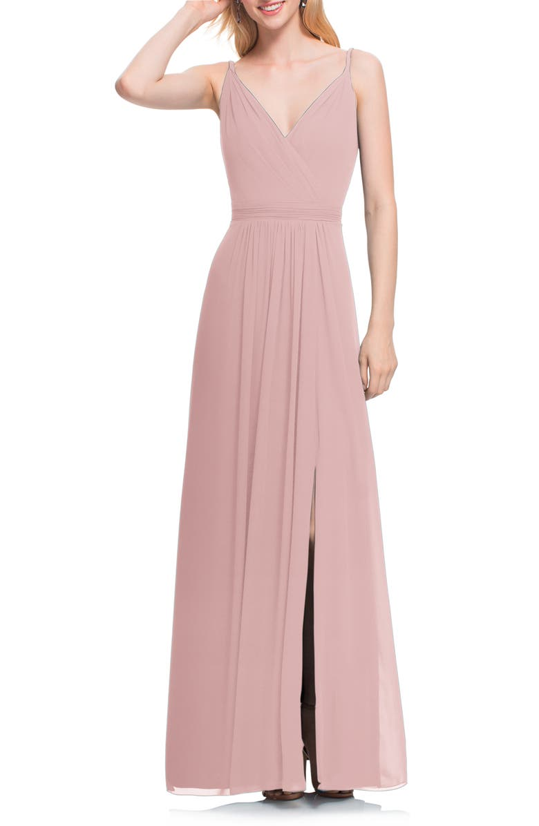 #LEVKOFF Surplice Neck Chiffon Gown, Main, color, FROST ROSE