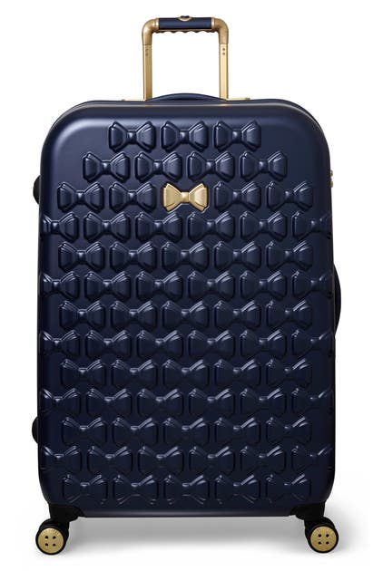 Ted Baker Shoes LARGE BEAU BOW EMBOSSED FOUR-WHEEL 31-INCH TROLLEY SUITCASE - BLUE