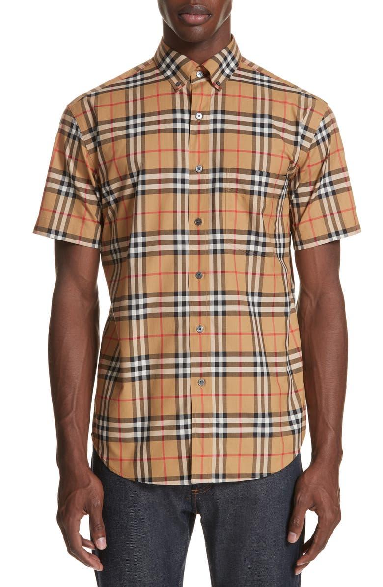 BURBERRY Jameson Woven Slim Fit Check Sport Shirt, Main, color, ANTIQUE YELLOW