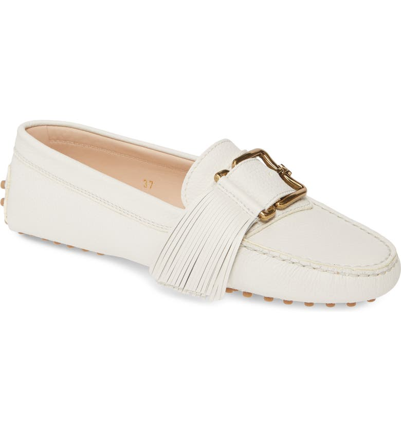 TOD'S Gommini Buckle Tassel Driving Moccasin, Main, color, WHITE