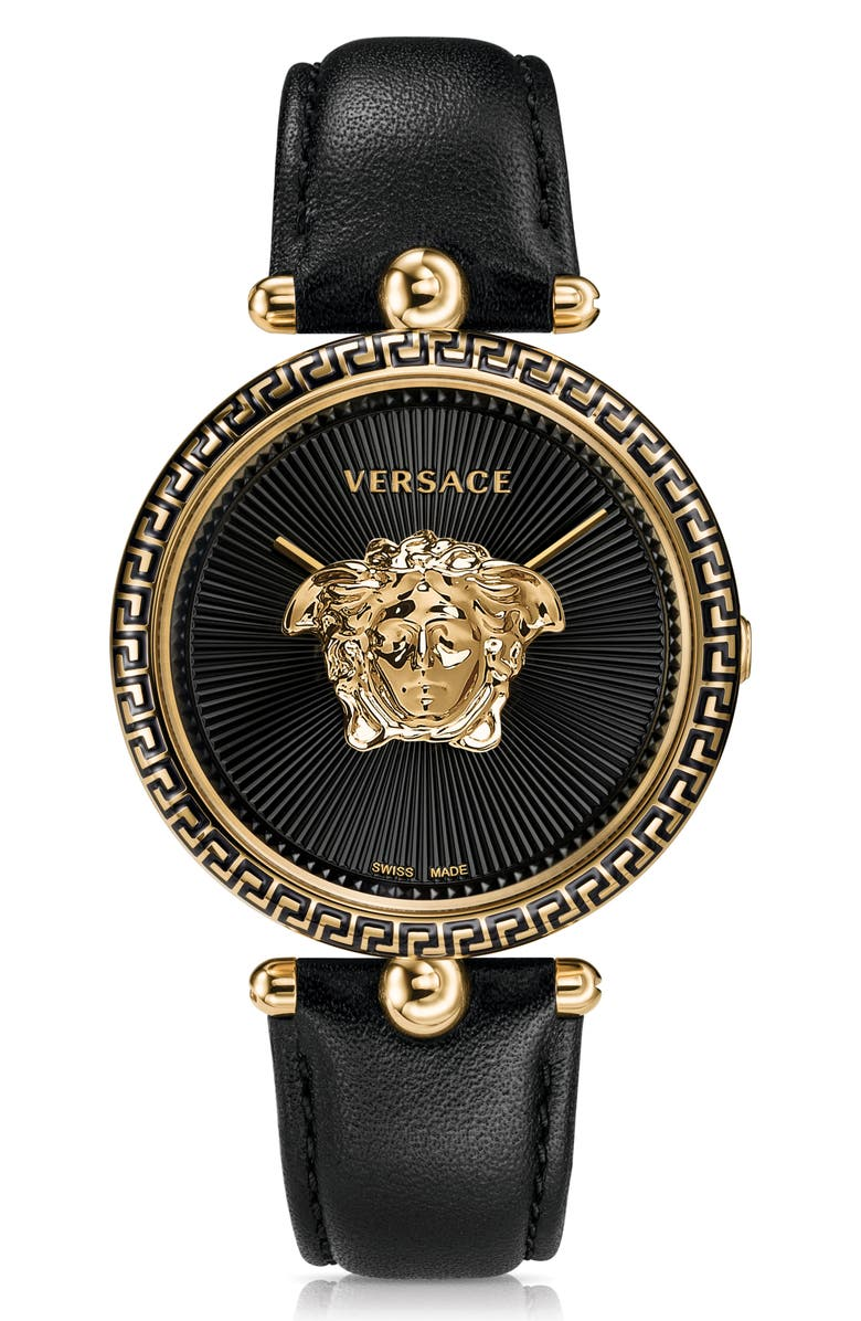 VERSACE Palazzo Empire Leather Strap Watch, 39mm, Main, color, BLACK/ GOLD