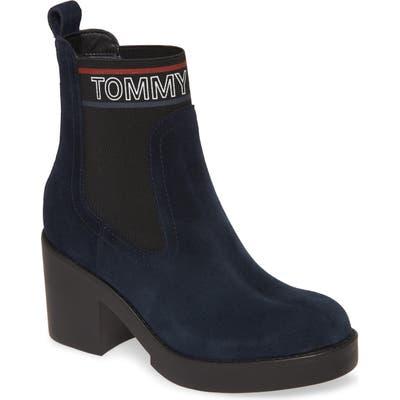 Tommy Jeans Lynn Logo Platform Chelsea Boot, Blue
