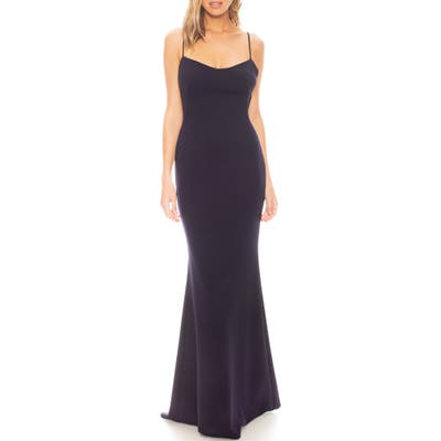 Katie May The Gina Backless Trumpet Gown, Blue