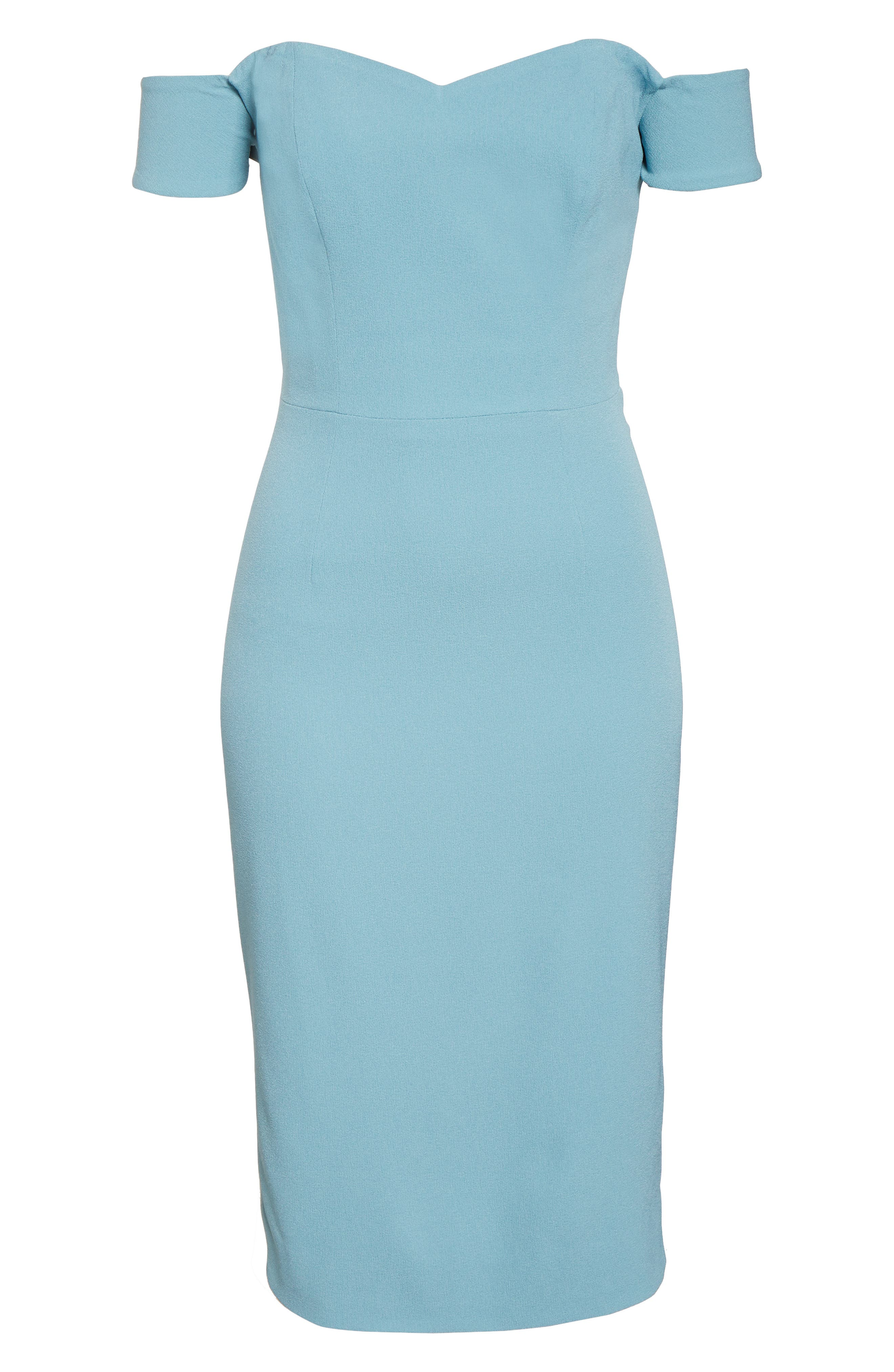 ,                             Bailey Off the Shoulder Body-Con Dress,                             Alternate thumbnail 8, color,                             SEA BREEZE
