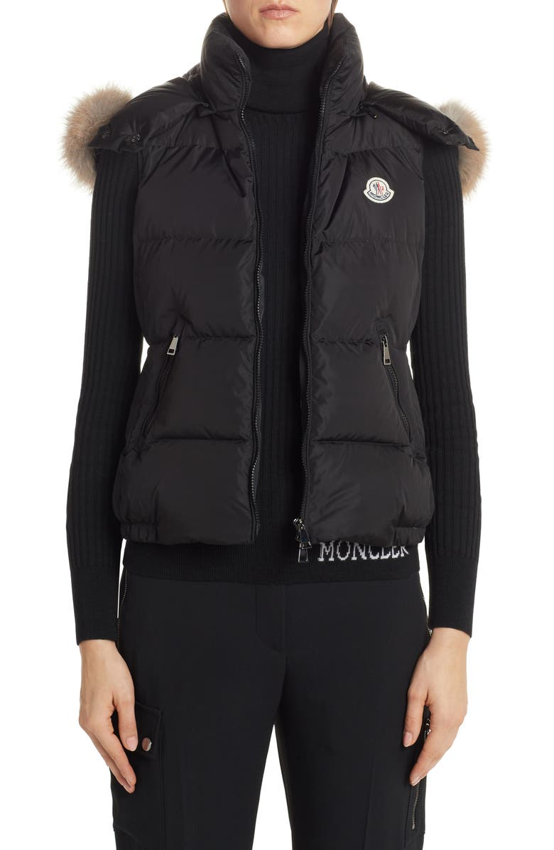 MONCLER Gallinule Quilted Down Vest with Detachable Genuine Fox Fur Trim Hood, Main, color, 001