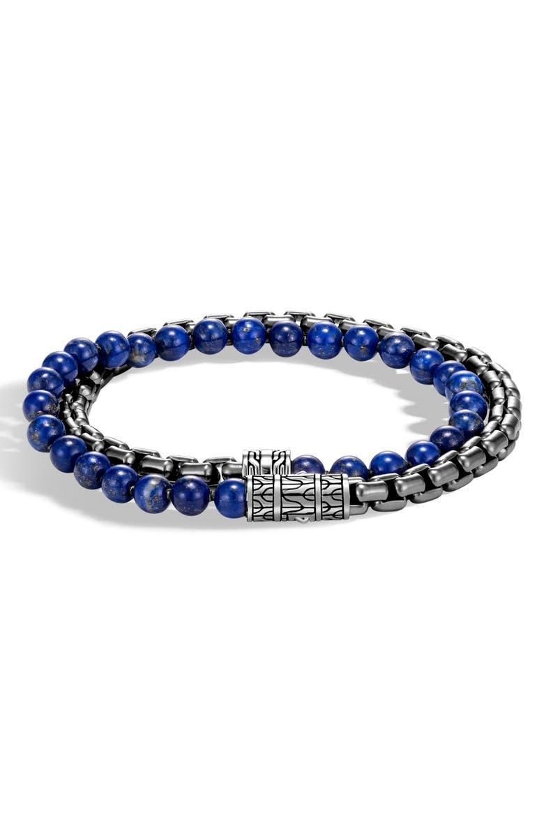 JOHN HARDY Men's Classic Chain Double Wrap Bracelet, Main, color, SILVER/ LAPIS