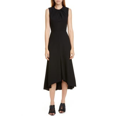 Alexander Mcqueen Pleat Neck Stretch Wool Crepe Midi Dress, 6 IT - Black