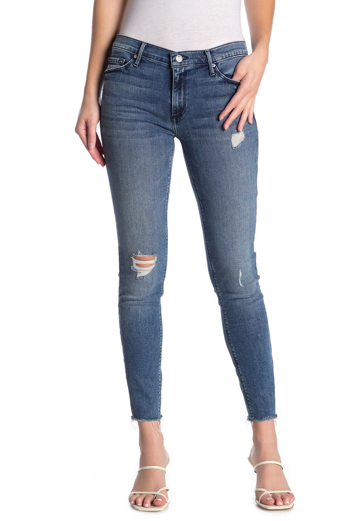 Image of Black Orchid Noah Ankle Fray Skinny Jeans