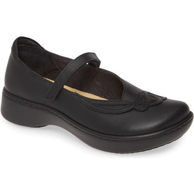 Naot Bluegill Mary Jane Flat, Black
