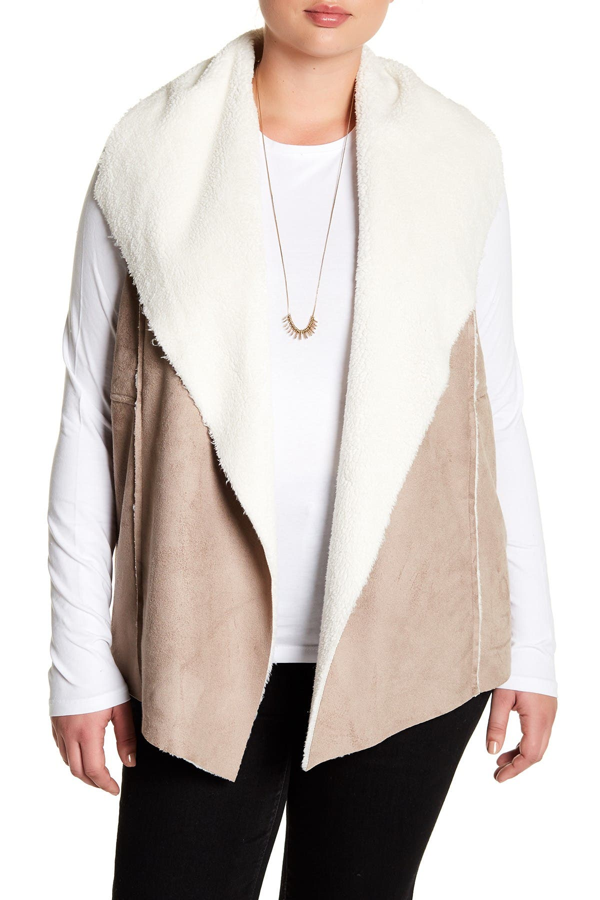Image of Nordstrom Rack Faux Suede & Faux Shearling Lined Vest