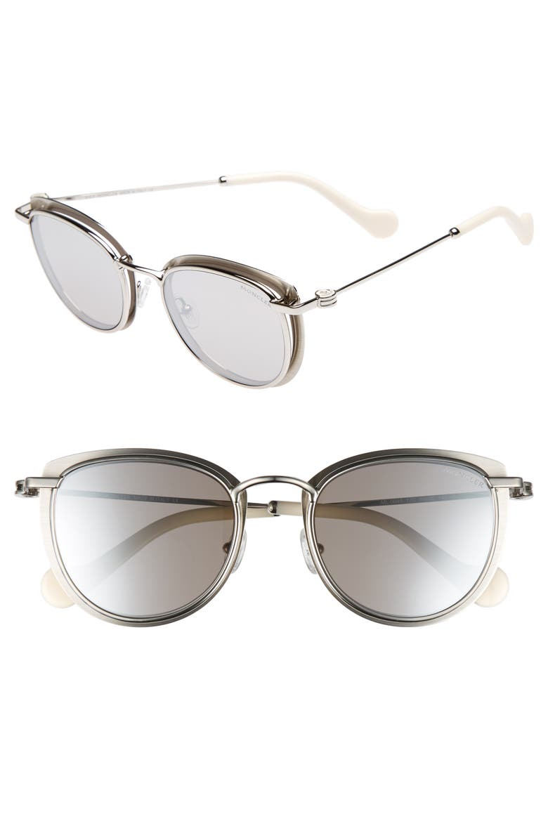 MONCLER 50mm Mirrored Geometric Sunglasses, Main, color, PALADIUM/ WHITE/ SMOKE/ SILVER
