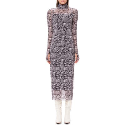 Afrm Shailene Long Sleeve Print Mesh Dress, Beige